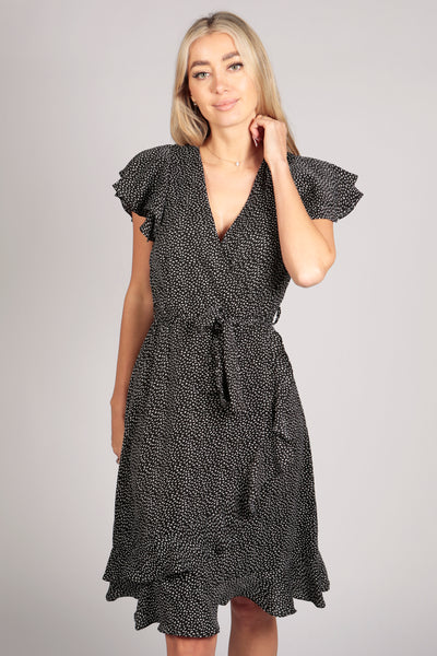 Ruffle Sleeve Pattern Wrap Midi Dress in Black