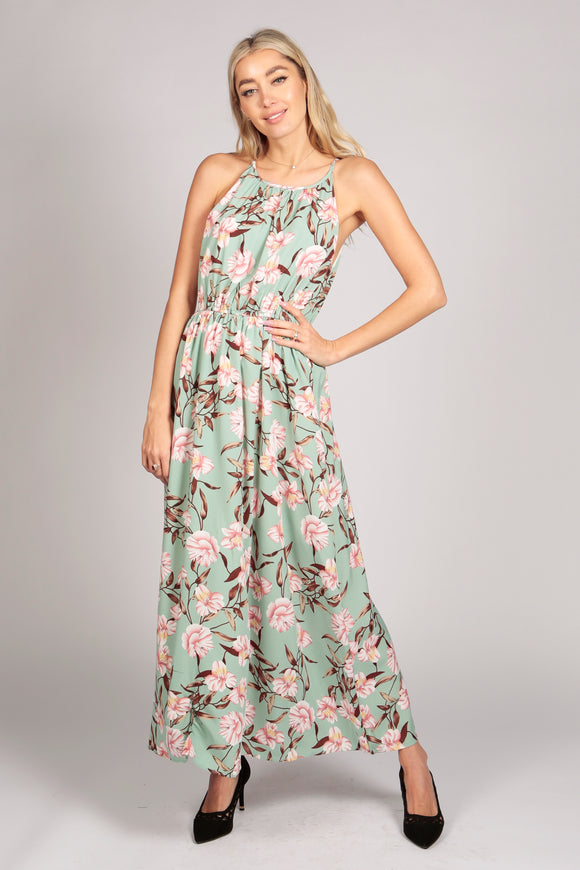 Floral Print Tie Neck Maxi Dress in Mint Green