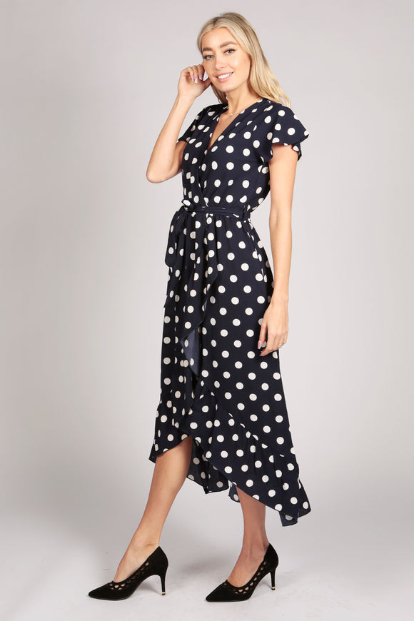 Ruffle Sleeve Polka Dot Wrap Maxi Dress in Blue