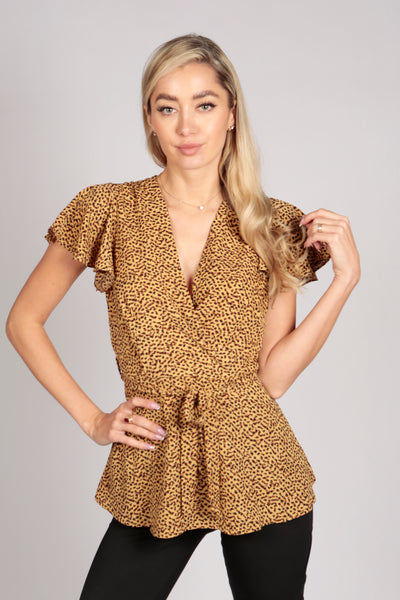 Ruffle Sleeve Leopard Polka Top in Mustard Yellow