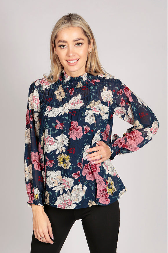 Full Sleeve Floral High Neck Top in Blue