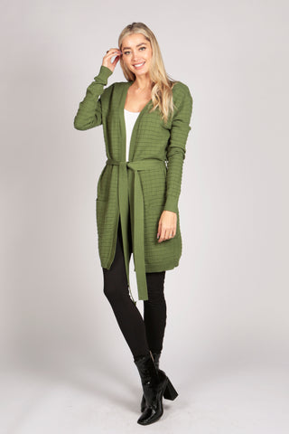 Full Sleeve Tie Belt Knitted Long Cardigan Coat Outerwear in Green
