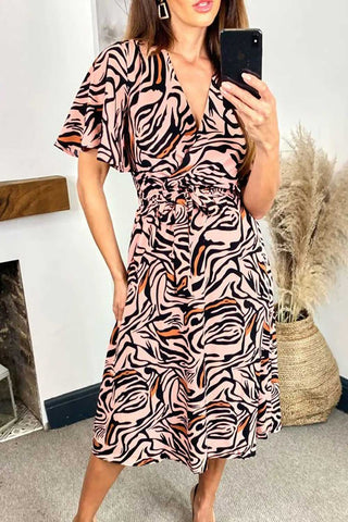 Zebra Print Wrap Midi Dress in Pink