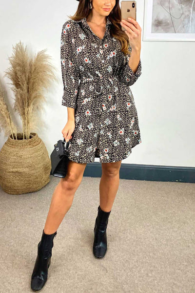 Long Sleeve Floral Shirt Dress in Black