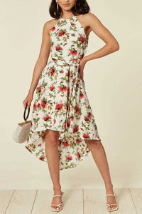 Halter Neck Floral Print High Low Summer Dress in White