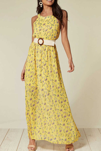 Halter Neck Maxi Dress in Yellow Floral Print