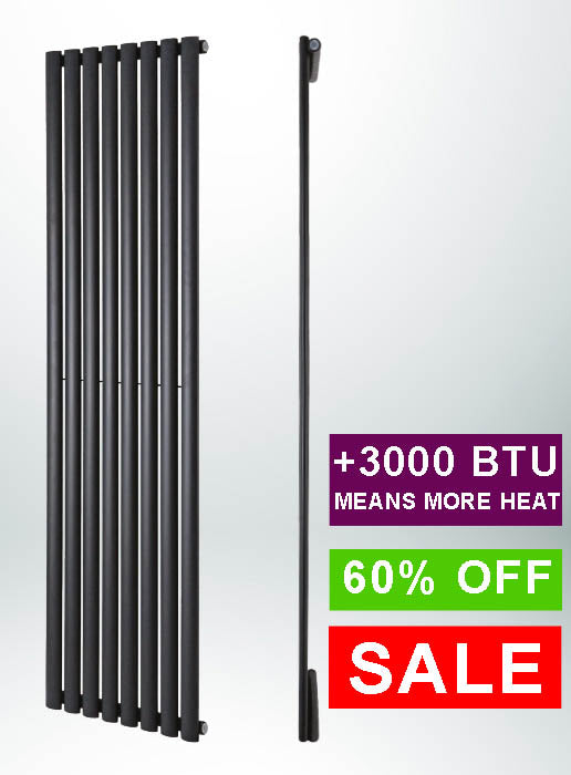 Crux Single Vertical Anthracite Radiator 1800mm(H) x 354mm(W)