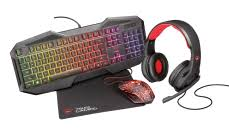 Set Gaming Bundle Trust 4 IN 1 Tastier Mouse Ndegjuese Mouse Pad GXT 788RW