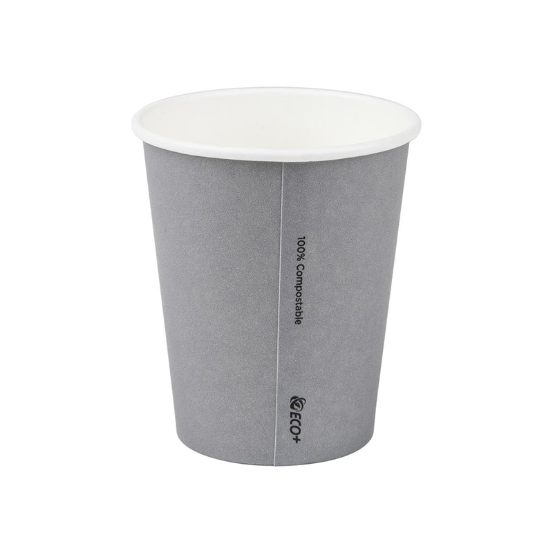8oz/245mL (80 mm diameter) Small Compostable Coffee Cup Grey