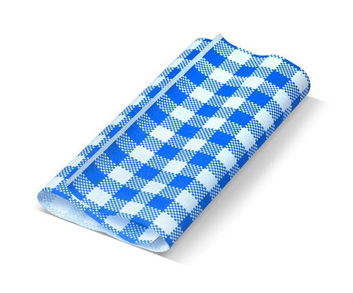 Gingham Blue Greaseproof Paper 190x300 mm