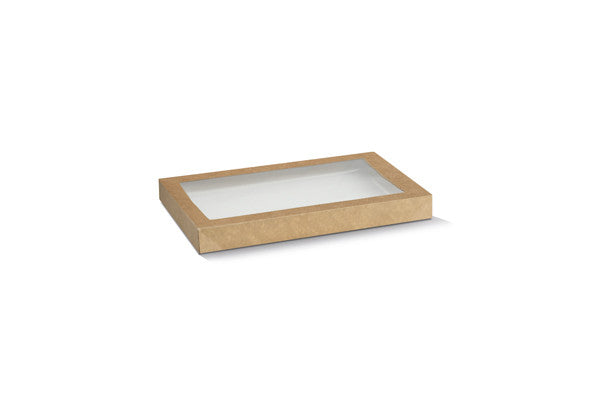 Kraft Catering Tray Lid Small - PLA Window 280x180x30 mm