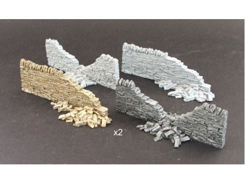 SMRS08 Dry Stone Wall damaged sections x 2 (resin)