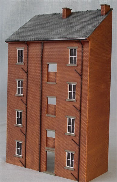 4/021PE Assembled and painted 3D brick tenement building facade