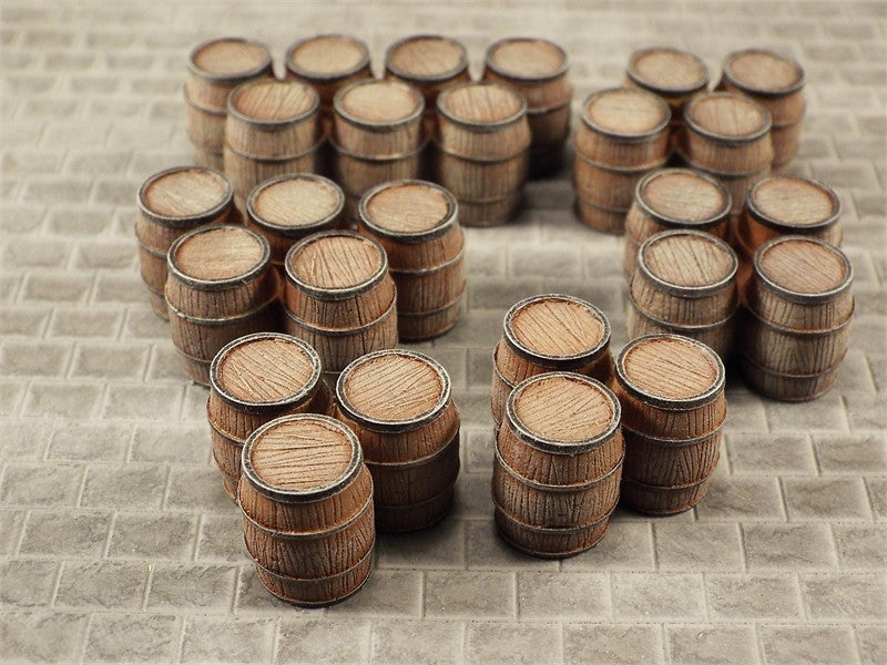 SMRA57 Assorted Clusters of Small Wooden Barrels (resin)