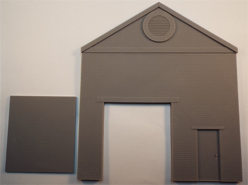 SMRS45A Brick Single Storey Gable End Panel with Pedestrian Door & Small Roller Shutter