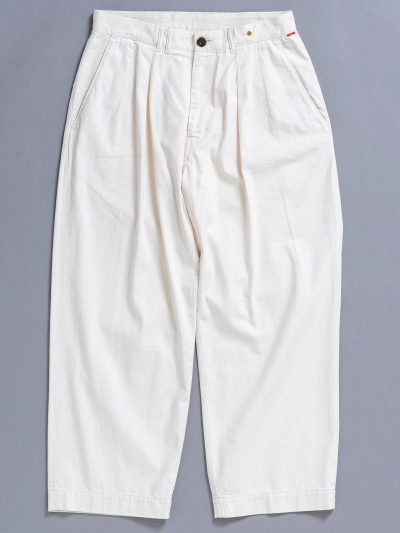 AN108 DENIM TUCK WIDE TROUSERS NATURAL