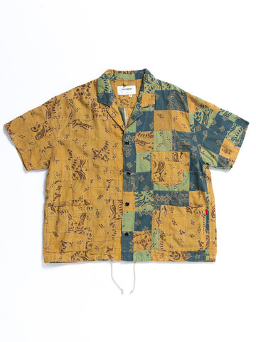 AN106 S/S PATCH WORK COVERALL SHIRT B.BEIGE