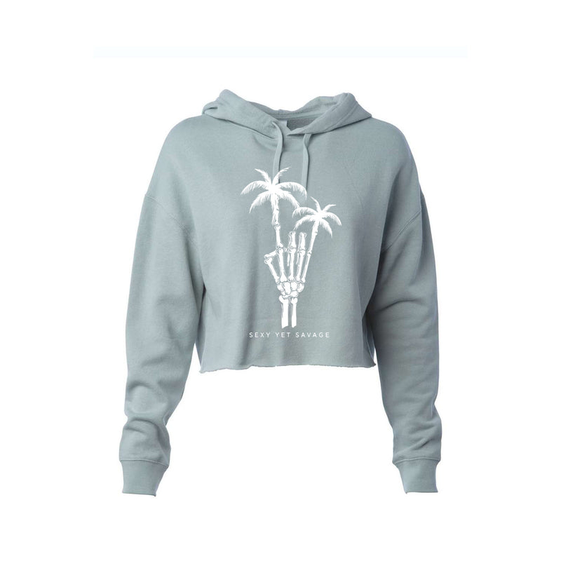 Sexy Yet Savage® Rock On Palm Tree Cropped Hoodie | Sage - Sexy Yet Savage®