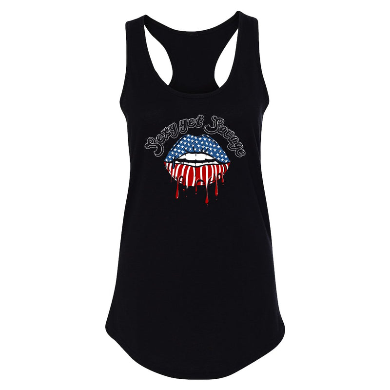 Sexy Yet Savage® American Flag Lips Racerback Tank - Sexy Yet Savage®