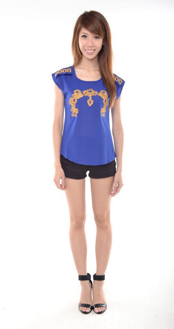 Oriental Embroidery Top in ROYAL BLUE