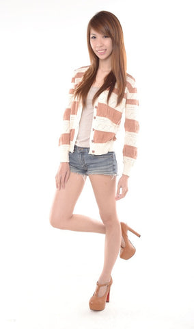 Knitted Striped Cardigan in NUDE