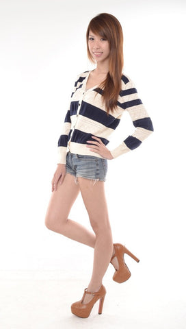Knitted Striped Cardigan in NAVY