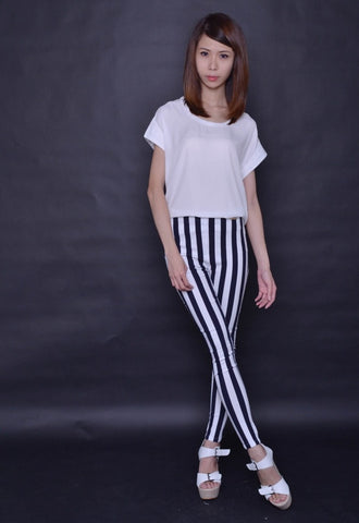 Monotone Stripes Slimming Pants