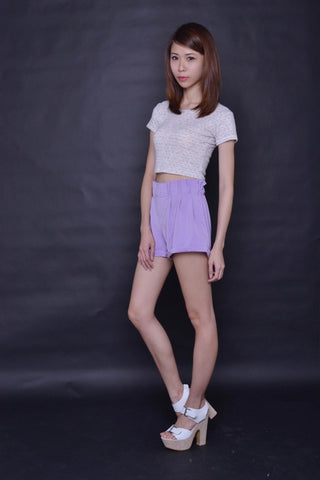 Paperbag Suspender Shorts in PASTEL LILAC