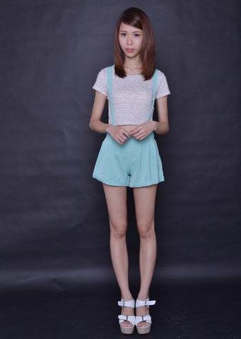 Paperbag Suspender Shorts in PASTEL MINT