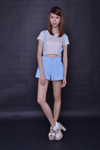 Paperbag Suspender Shorts in BLUE