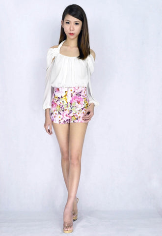 Ixora Floral HW Shorts in PINK