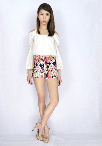 Ixora Floral HW Shorts in BLACK