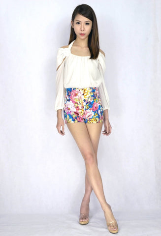 Ixora Floral HW Shorts in TURQUOISE