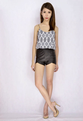 Inverted V Leather Shorts (SIZE S)