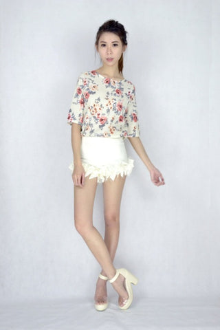 Belle Floral Top in CREAM