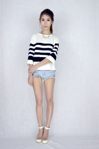 Nat Striped Knit Top
