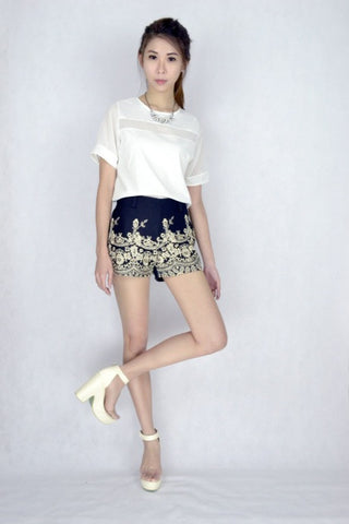 Golden Age Embroidery Shorts