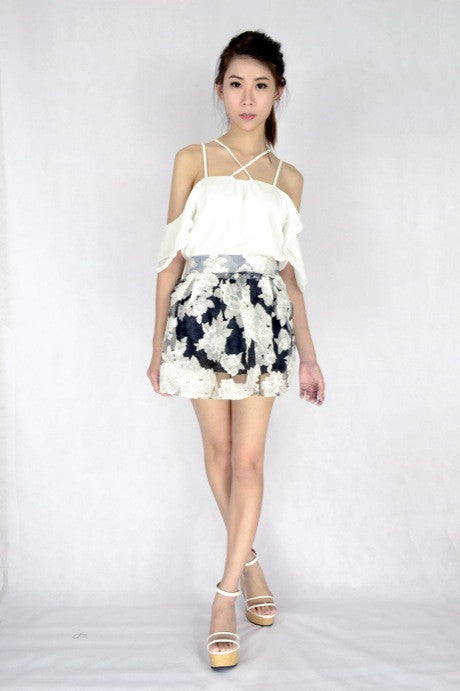 Voile Floral Skirt in MONO
