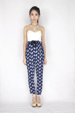 Bella Floral Pants in NAVY