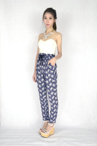 Bella Floral Pants in GREY