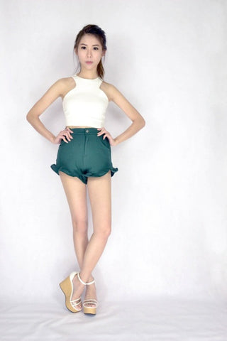 *RESTOCKED* Frilly Frilly Shorts in FOREST GREEN