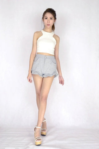 *RESTOCKED* Frilly Frilly Shorts in GREY