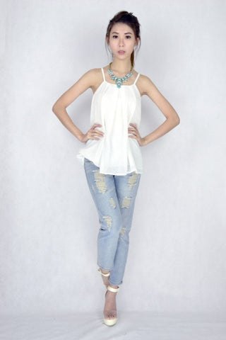 Clarice Pleat Top in WHITE