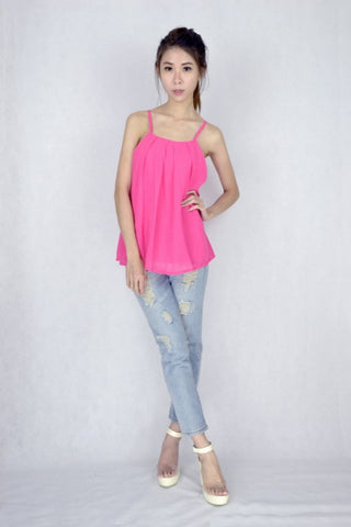 Clarice Pleat Top in HOT PINK