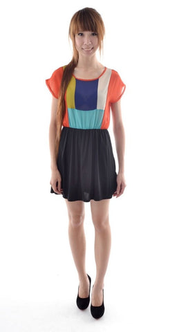 Colourblocking dress in ORANGE