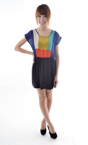 Colourblocking dress in NAVY