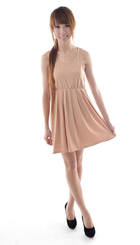 Multi-panelling dress in NUDE