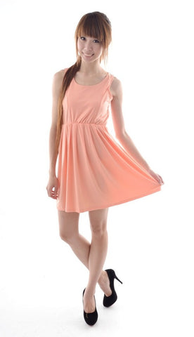 Multi-panelling dress in SALMON