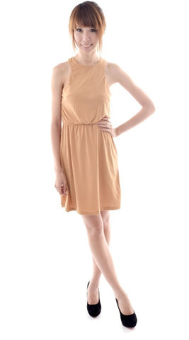 Nina Racer dress in LIGHT BROWN