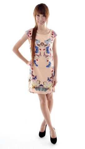 Butterfly Flutters Canvas dress in NUDE